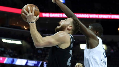 <p>               Detroit Pistons Blake Griffin (23) goes up for a basket while guarded by Memphis Grizzlies Jaren Jackson Jr. (13) in the first half of an NBA basketball game Wednesday, Jan. 2, 2019, in Memphis, Tenn. (AP Photo/Karen Pulfer Focht)             </p>