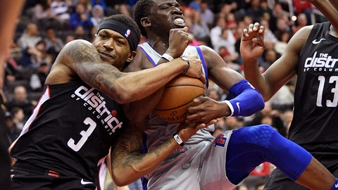 <p>               Washington Wizards guard Bradley Beal (3) battles for the ball against Detroit Pistons guard Reggie Jackson during the first half of an NBA basketball game, Monday, Jan. 21, 2019, in Washington. (AP Photo/Nick Wass)             </p>