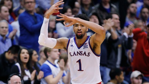 <p>               Kansas forward Dedric Lawson (1) reacts after hitting a three-point shot during the second half of an NCAA college basketball game against Texas Christian, Wednesday, Jan. 9, 2019, in Lawrence, Kan. Lawson scored 31 points in the the Jayhawks ' 77-68 win over the Horned Frogs. (AP Photo/Colin E. Braley)             </p>