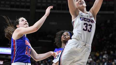 <p>               Connecticut's Katie Lou Samuelson shoots next to SMU's Alicia Froling, left, and Kayla White during the first half of an NCAA college basketball game Wednesday, Jan. 23, 2019, in Storrs, Conn. (AP Photo/Jessica Hill)             </p>