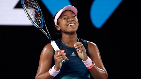 <p>               Japan's Naomi Osaka smiles during her first round match against Poland's Magda Linette at the Australian Open tennis championships in Melbourne, Australia, Tuesday, Jan. 15, 2019. (AP Photo/Kin Cheung)             </p>