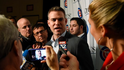 <p>               Theo Epstein, Chicago Cubs president of baseball operations talks with reporters during the team's annual convention Friday, Jan. 18, 2019, in Chicago. (AP Photo/Matt Marton)             </p>