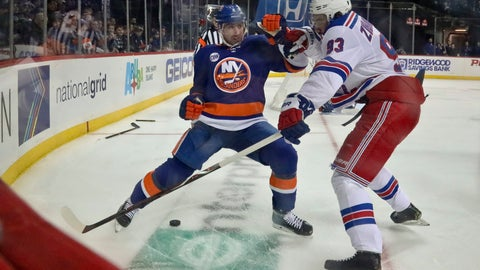 <p>               New York Islanders;s Nick Leddy, left, battles for the puck with New York Rangers' Mika Zibanejad (93), after breaking his stick during an NHL hockey game, Saturday, Jan. 12, 2019, at Barclays Center in New York. (AP Photo/Bebeto Matthews)             </p>