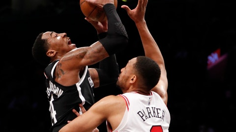 <p>               Chicago Bulls forward Jabari Parker (2) defends Brooklyn Nets forward Rondae Hollis-Jefferson (24) during the first half of an NBA basketball game Tuesday, Jan. 29, 2019, in New York. (AP Photo/Kathy Willens)             </p>