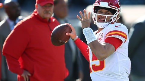 <p>               FILE - In this Dec. 2, 2018, file photo, Kansas City Chiefs coach Andy Reid, left, watches quarterback Patrick Mahomes (15) warm up for the team's NFL football game against the Oakland Raiders in Oakland, Calif. The Chiefs (12-4) get this week to rest and relax, the byproduct of earning that first-round bye. They will learn this weekend whether they will face the Colts, Ravens or Chargers in the divisional round on Jan. 12, the first of what they hope will be two games at Arrowhead Stadium before the Super Bowl. (AP Photo/Ben Margot, File)             </p>