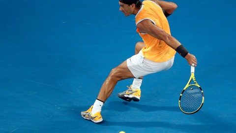 <p>               Spain's Rafael Nadal makes a backhand return to Greece's Stefanos Tsitsipas during their semifinal at the Australian Open tennis championships in Melbourne, Australia, Thursday, Jan. 24, 2019. (AP Photo/Kin Cheung)             </p>