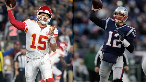 <p>               FILE - At left, in a Nov. 19, 2018, file photo, Kansas City Chiefs quarterback Patrick Mahomes throws a pass during an NFL football game against the Los Angeles Rams in Los Angeles. At right, in a Dec. 30, 2018, file photo, New England Patriots quarterback Tom Brady throws during the second half of an NFL football game in Foxborough, Mass. It seems football fans everywhere are suddenly on the Chiefs' bandwagon, enthralled by their record-setting young quarterback and exciting offensive playmakers while hopeful that their amiable old coach can finally win the big one. Then again, maybe they're just fans of anybody facing New England.(AP Photo/File)             </p>