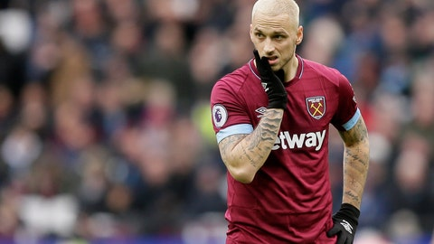 <p>               West Ham's Marko Arnautovic reacts during the English Premier League soccer match between West Ham United and Arsenal at London Stadium in London, Saturday, Jan. 12, 2019. (AP Photo/Tim Ireland)             </p>