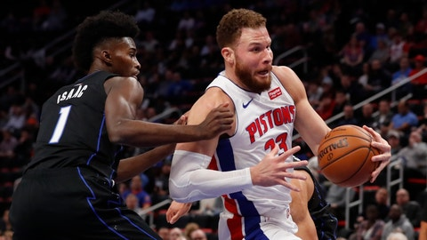 <p>               Detroit Pistons forward Blake Griffin (23) drives as Orlando Magic forward Jonathan Isaac (1) defends during the first half of an NBA basketball game, Wednesday, Jan. 16, 2019, in Detroit. (AP Photo/Carlos Osorio)             </p>