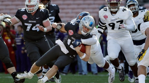 <p>               National Team quarterback Brent Stockstill, center, is tackled as he carries against the American Team during the first half of the NFLPA Collegiate Bowl football game Saturday, Jan. 19, 2019, in Pasadena, Calif. (AP Photo/Marcio Jose Sanchez)             </p>