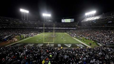 <p>               CORRECTS MEETING AGENDA AND REMOVES REFERENCE TO RAIDERS PERSONNEL BEING PRESENT AT UPCOMING MEETING - FILE - In this Monday, Dec. 24, 2018, file photo, fans watch from a general view at Oakland Alameda County Coliseum during the second half of an NFL football game between the Oakland Raiders and the Denver Broncos in Oakland, Calif. The Coliseum Authority will meet Friday, Jan. 18, 2019, to get an update on the possibility of whether the Raiders could stay in Oakland another year. No Raiders officials will be present. (AP Photo/Jeff Chiu, File)             </p>