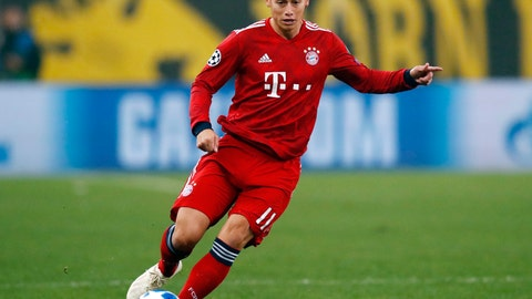 <p>               FILE---In this picture taken Oct. 23, 2018 Bayern midfielder James David James Rodriguez controls the ball during a Group E Champions League soccer match between AEK Athens and Bayern Munich at the Olympic Stadium in Athens. (AP Photo/Thanassis Stavrakis)             </p>