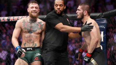 <p>               FILE - In this Oct. 6, 2018, file photo, Conor McGregor, left, fights Khabib Nurmagomedov are separated during a UFC 229 mixed martial arts bout in Las Vegas. Nurmagomedov was fined $500,000 and suspended for nine months for a brawl inside and outside the octagon after his fight with Conor McGregor at UFC 229. McGregor was fined $50,000 and suspended for six months.  The suspensions for both fighters are retroactive to Oct. 6. (AP Photo/John Locher, File)             </p>