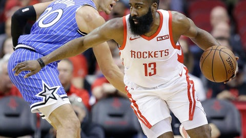 <p>               Houston Rockets guard James Harden (13) dribbles around Orlando Magic forward Aaron Gordon during the first half of an NBA basketball game, Sunday, Jan. 27, 2019, in Houston. (AP Photo/Eric Christian Smith)             </p>