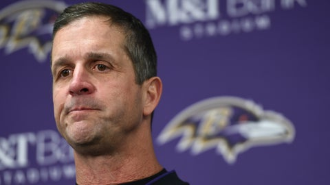 <p>               Baltimore Ravens head coach John Harbaugh speaks at a news conference after an NFL wild card playoff football game against the Los Angeles Chargers, Sunday, Jan. 6, 2019, in Baltimore. (AP Photo/Gail Burton)             </p>