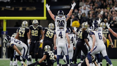 <p>               Los Angeles Rams kicker Greg Zuerlein reacts after his game-winning field goal in overtime of the NFL football NFC championship game against the New Orleans Saints, Sunday, Jan. 20, 2019, in New Orleans. The Rams won 26-23. (AP Photo/Carolyn Kaster)             </p>
