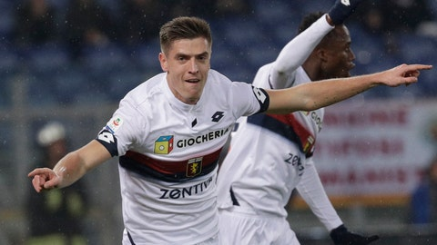 <p>               FILE - In this Dec. 16, 2018 file photo, Genoa's Krzysztof Piatek reacts after scoring his side's opening goal during an Italian Serie A soccer match between Roma and Genoa, at the Olympic stadium in Rome. The same day Gonzalo Higuain joined Chelsea, Piatek completed a move to Milan for a reported 35 million euros. (AP Photo/Gregorio Borgia)             </p>