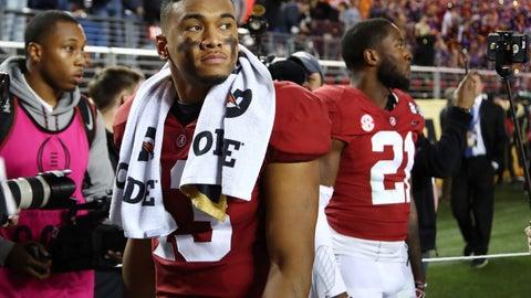 <p>               Alabama's Tua Tagovailoa reacts after the NCAA college football playoff championship game against Clemson, Monday, Jan. 7, 2019, in Santa Clara, Calif. Clemson beat Alabama 44-16. (AP Photo/Ben Margot)             </p>