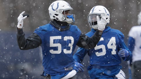 <p>               Indianapolis Colts outside linebacker Darius Leonard (53) and linebacker Ahmad Thomas (54) run during practice at the NFL football team's facility, Wednesday, Jan. 9, 2019, in Indianapolis. The Colts will play Kansas City in a AFC divisional round game on Saturday. (AP Photo/Darron Cummings)             </p>