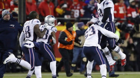 <p>               New England Patriots quarterback Tom Brady (12) celebrates with his teammates after the AFC Championship NFL football game, Sunday, Jan. 20, 2019, in Kansas City, Mo. (AP Photo/Charlie Neibergall)             </p>