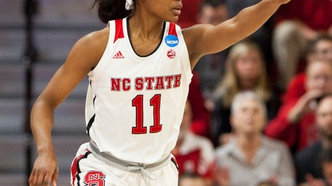 <p>               FILE - In this March 16, 2018, file photo, North Carolina State's Kiara Leslie (11) points to a teammate after hitting a 3-pointer during the first half of a first-round game in the NCAA women's college basketball tournament against Elon in Raleigh, N.C. The wins keep adding up for Kiara Leslie and eighth-ranked North Carolina State.  The Wolfpack women _ not traditional powers Connecticut or reigning national champion Notre Dame _ stand as Division I's last unbeaten team. (AP Photo/Ben McKeown, File)             </p>