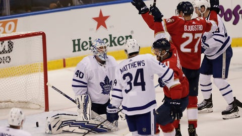 <p>               Toronto Maple Leafs goaltender Garret Sparks reacts after the Florida Panthers scored as Florida Panthers center Nick Bjugstad cheers during the first period of an NHL hockey game Friday, Jan. 18, 2019, in Sunrise, Fla. (AP Photo/Brynn Anderson)             </p>