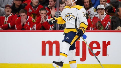 <p>               Nashville Predators right wing Viktor Arvidsson celebrates after scoring against the Chicago Blackhawks during the first period of an NHL hockey game Wednesday, Jan. 9, 2019, in Chicago. (AP Photo/Kamil Krzaczynski)             </p>