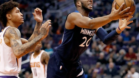 <p>               Minnesota Timberwolves guard Josh Okogie (20) drives to the basket as Phoenix Suns forward Kelly Oubre Jr. defends during the first half of an NBA basketball game, Tuesday, Jan. 22, 2019, in Phoenix. (AP Photo/Matt York)             </p>