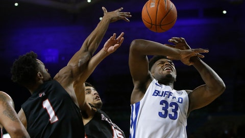 <p>               Buffalo forward Nick Perkins (33) is fouled by Ball State forward Zach Gunn (15) during the first half of an NCAA college basketball game Tuesday, Jan. 29, 2019, in Buffalo N.Y. (AP Photo/Jeffrey T. Barnes)             </p>