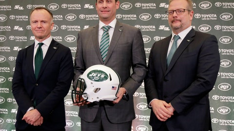<p>               New York Jets new NFL football head coach Adam Gase, center, poses for a picture with owner Christopher Johnson, left, and general manager Mike Maccagnan during a news conference in Florham Park, N.J., Monday, Jan. 14, 2019. (AP Photo/Seth Wenig)             </p>