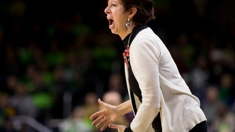<p>               Notre Dame head coach Muffet McGraw yells at her players during the second half of an NCAA college basketball game against Boston College, Sunday, Jan. 20, 2019, in South Bend, Ind. (AP Photo/Robert Franklin)             </p>