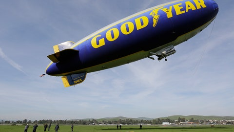 <p>               FILE - In this Friday, Feb. 5, 2016, file photo, the Goodyear Blimp Spirit of Innovation takes off for a flight over Super Bowl fan sites from the airport in Livermore, Calif. As a nod to its influence and legacy to the game, the iconic airship is being inducted into the College Football Hall of Fame as an honorary member — the first non-player or coach to be inducted. The blimp's flight to fame began during the telecast for the 1955 Rose Bowl Game and has led to it being an eye in the sky at over 2,000 games, hovering above stadiums from coast to coast. (AP Photo/Eric Risberg, File)             </p>