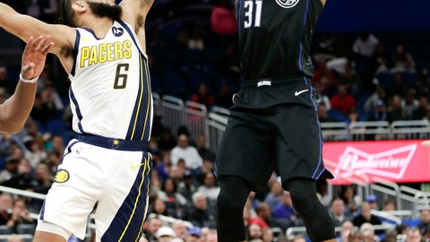 <p>               Orlando Magic's Terrence Ross (31) shoots over Indiana Pacers' Cory Joseph (6) during the second half of an NBA basketball game, Thursday, Jan. 31, 2019, in Orlando, Fla. (AP Photo/John Raoux)             </p>