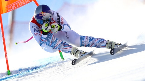 <p>               United States' Lindsey Vonn speeds down the course during an alpine ski, women's World Cup downhill in Cortina D'Ampezzo, Italy, Friday, Jan. 18, 2019. (AP Photo/Marco Trovati)             </p>