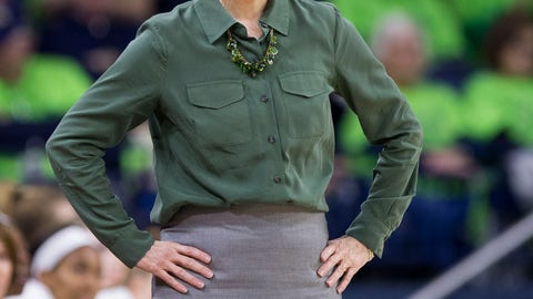 <p>               Notre Dame head coach Muffet McGraw looks on during the first half of an NCAA college basketball game against Wake Forest, Sunday, Jan. 13, 2019, in South Bend, Ind. (AP Photo/Robert Franklin)             </p>