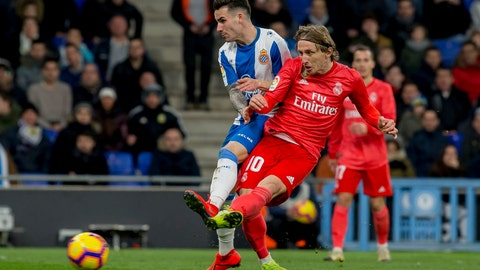 <p>               Real Madrid's midfielder Luka Modric (10) during the match between RCD Espanyol vs Real Madrid during the Spanish La Liga soccer at RCDE stadium in Cornella Llobregat, Spain, Sunday, Jan. 27, 2019. (AP Photo/Joan Monfort)             </p>