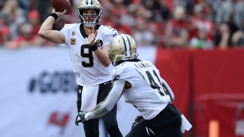 <p>               FILE - In this Dec. 9, 2018, file photo, New Orleans Saints quarterback Drew Brees (9) throws a pass to running back Alvin Kamara (41) during the first half of the team's NFL football game against the Tampa Bay Buccaneers in Tampa, Fla. Brees, who turns 40 on Jan. 15, is a leading MVP candidate after breaking his own NFL record for completion percentage, connecting on 74.4 percent of his passes a year after connecting on 72 percent. (AP Photo/Jason Behnken, File)             </p>