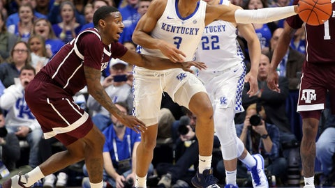 <p>               Kentucky's Keldon Johnson (3) drives while defended by Texas A&M's Jay Jay Chandler, left, during the first half of an NCAA college basketball game in Lexington, Ky., Tuesday, Jan. 8, 2019. (AP Photo/James Crisp)             </p>