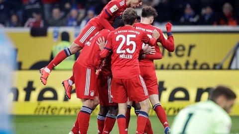 <p>               Munich players celebrate their side's second goal during a German Bundesliga soccer match between TSG 1899 Hoffenheim and Bayern Munich in Sinsheim, Germany, Friday, Jan. 18, 2019. (AP Photo/Michael Probst)             </p>