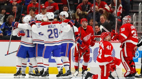 <p>               Montreal Canadiens right wing Brendan Gallagher (11) celebrates his goal against the Detroit Red Wings in the second period of an NHL hockey game Tuesday, Jan. 8, 2019, in Detroit. (AP Photo/Paul Sancya)             </p>