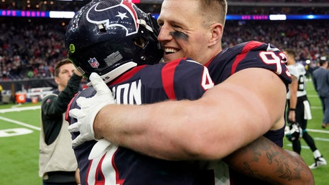 <p>               Houston Texans quarterback Deshaun Watson (4) and defensive end J.J. Watt (99) embrace after their win over the Jacksonville Jaguars in an NFL football game, Sunday, Dec. 30, 2018, in Houston. (AP Photo/David J. Phillip)             </p>
