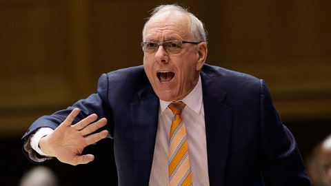 <p>               Syracuse head coach Jim Boeheim directs his players during the second half of an NCAA college basketball game against Duke in Durham, N.C., Monday, Jan. 14, 2019. Syracuse won 95-91. (AP Photo/Gerry Broome)             </p>