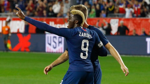 <p>               United States forward Gyasi Zardes (9) celebrates a goal against Panama by United States defender Walker Zimmerman, back right, during the second half of a men's international friendly soccer match Sunday, Jan. 27, 2019, in Phoenix. The United States defeated Panama 3-0. (AP Photo/Ross D. Franklin)             </p>