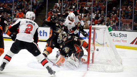 <p>               Ottawa Senators' Bobby Ryan (9) scores past Anaheim Ducks goaltender John Gibson (36) during the third period of an NHL hockey game Wednesday, Jan. 9, 2019, in Anaheim, Calif. (AP Photo/Marcio Jose Sanchez)             </p>