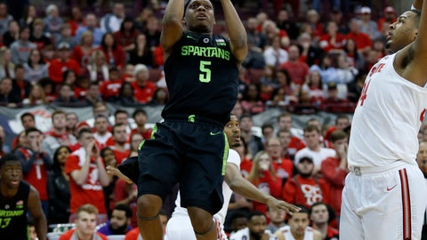 <p>               Michigan State guard Cassius Winston, left, goes up for a shot against Ohio State forward Kaleb Wesson during the first half of an NCAA college basketball game in Columbus, Ohio, Saturday, Jan. 5, 2019. (AP Photo/Paul Vernon)             </p>