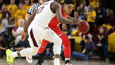 <p>               Utah guard Sedrick Barefield, right, advances the ball up court as Arizona State's Luguentz Dort (0) defends during the first half of an NCAA college basketball game, Thursday, Jan. 3, 2019, in Tempe, Ariz. (AP Photo/Ralph Freso)             </p>