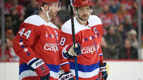 "<p>               FILE - In this Jan. 18, 2019, file photo, Washington Capitals left wing Alex Ovechkin (8), of Russia, talks with defenseman Brooks Orpik (44) during the first period of an NHL hockey game against the New York Islanders in Washington. The Capitals recognize some things are a ""mess,"" with the team in the midst of its longest losing streak since 2013-14. After a week off, the Stanley Cup champs hope to stop the bleeding. (AP Photo/Nick Wass, File)             </p>"