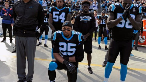 "<p>               FILE - In this Nov. 25, 2018, file photo, Carolina Panthers' Eric Reid (25) kneels during the national anthem before an NFL football game against the Seattle Seahawks, in Charlotte, N.C. The NFL and the NFL Players Association has released a joint statement saying an independent administrator found Panthers safety Eric Reid received the ""normal"" number of drug tests this season and he was not the subject of targeting by the league. Reid said in December he had been tested seven times by the NFL. He said the league was targeting him because of the ongoing collusion case against the NFL alleging that team owners conspired to keep him out of the league because of his decision to kneel during the national anthem to protest racial and social injustice. (AP Photo/Mike McCarn, File)             </p>"