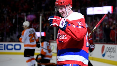 <p>               Washington Capitals left wing Jakub Vrana (13), of the Czech Republic, celebrates his goal during the second period of an NHL hockey game against the Philadelphia Flyers, Tuesday, Jan. 8, 2019, in Washington. This was Vrana's second goal of the game. (AP Photo/Nick Wass)             </p>
