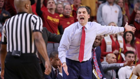 <p>               Iowa State head coach Steve Prohm disagrees with a call from one of the officials during the second half of an NCAA college basketball game against Kansas State, Saturday, Jan. 12, 2019, in Ames, Iowa. Kansas State won 58-57. (AP Photo/Justin Hayworth)             </p>